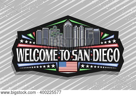 Vector Logo For San Diego, Black Isolated Badge With Line Illustration Of Famous City Scape On Dusk