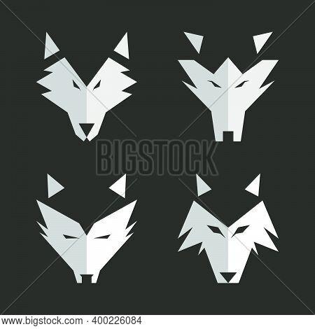 Set Of Modern Logo Wolf Head Mascot Animal. Predator Face Wolf Silhouette Black And White Vector Ill