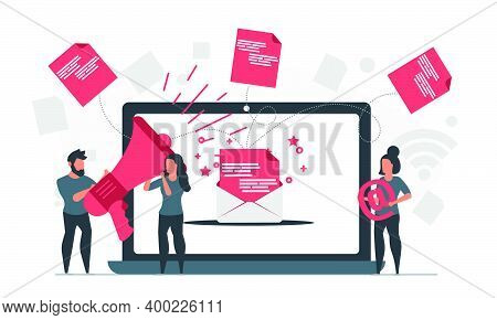 Email Campaign Business Marketing Technology Strategy. People Send Email Newsletter Message To Promo