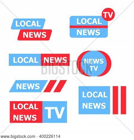 Local News Logo Collection Insignia Icon. Label Local News Set Isolated On White Background Vector I