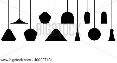 Set Different Lamps And Lampshades Isolated On A White Background. Front View Of Various Lamps And F