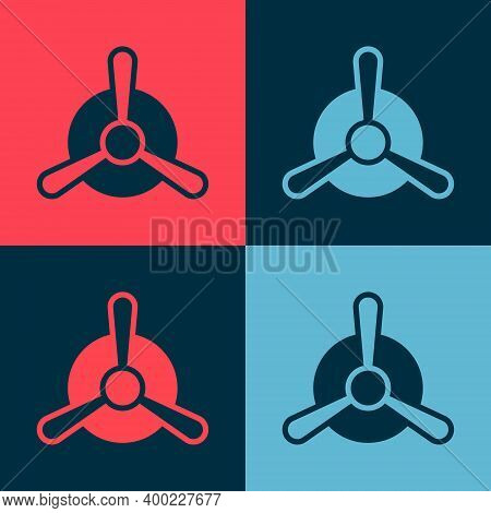 Pop Art Plane Propeller Icon Isolated On Color Background. Vintage Aircraft Propeller. Vector