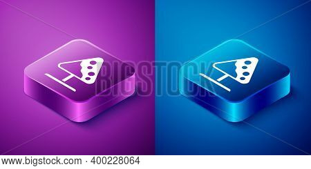 Isometric Road Sign Avalanches Icon Isolated On Blue And Purple Background. Snowslide Or Snowslip Ra