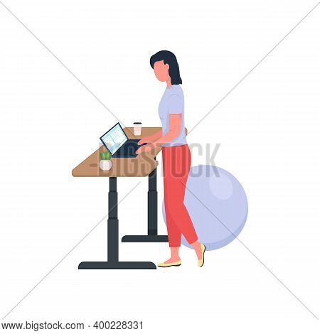 Woman Working At Standing Desk Flat Color Vector Faceless Character