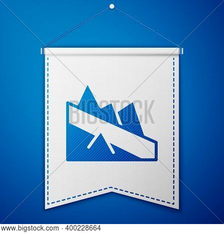Blue Mountain Descent Icon Isolated On Blue Background. Symbol Of Victory Or Success Concept. White
