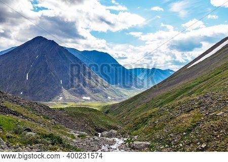 Mountain Valley In The Subpolar Urals On A Summer Day