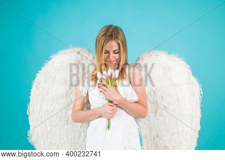 Valentines Angel Girl With Flowers. Valentines Day Cupid. Angel Woman. Cupid Girl In Valentine Day.