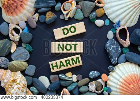 Do Not Harm Symbol. Words 'do Not Harm' On Wooden Blocks On A Beautiful Black Background. Sea Stones