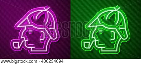 Glowing Neon Line Sherlock Holmes With Smoking Pipe Icon Isolated On Purple And Green Background. De