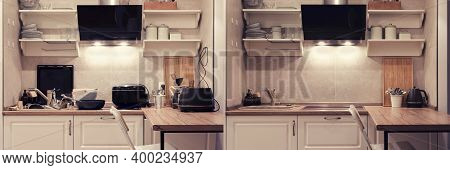 Modern Kitchen Before And After Cleaning And Washing Up Dirty Dishes. Clean And Cluttered Kitchen Wi