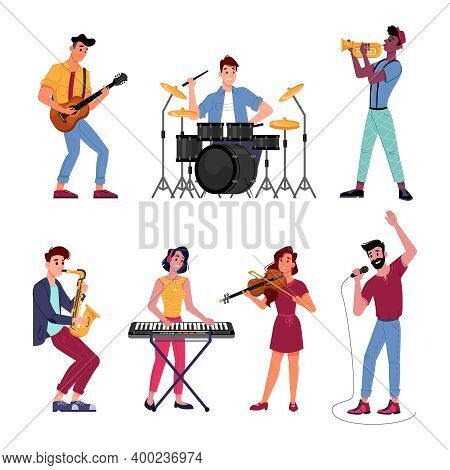 Musicians Set. Vector Music Band Players Performs On Instruments. Vector Man And Woman Playing On Di