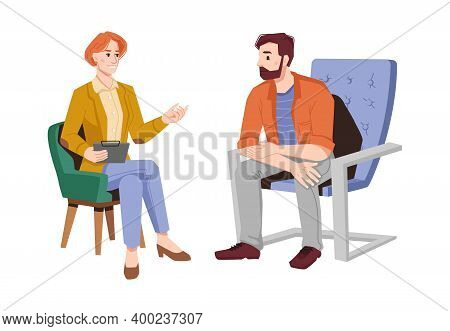 Psychologist Gives Advice To Man Patient In Armchair Isolated Flat Cartoon People. Vector Female Psy