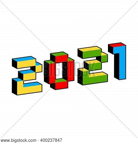 2021 Text In Style Of Old 8-bit Video Games. Vibrant Colorful 3d Pixel Letters. Creative Digital New