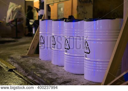 Metal Barrels Containers For Separate Collection And Sorting Of Garbage On The Street. Environmental