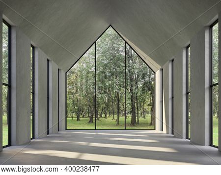 Empty Concrete Room With Nature View 3d Render,there Are Polished Concrete Floor ,wall And Triangle