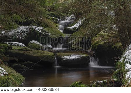 Konsky Creek In National Park Sumava With Cascade And Waterfall