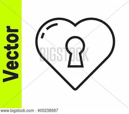 Black Line Heart With Keyhole Icon Isolated On White Background. Locked Heart. Love Symbol And Keyho