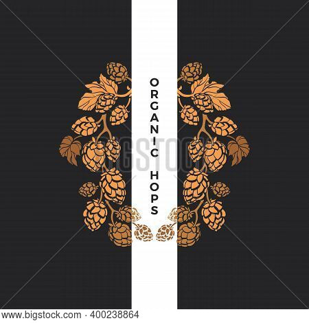Hops Plant. Vector Golden Wreath. Nature Cone, Leaves. Vintage Autumn Art Frame. Natural Organic Dri