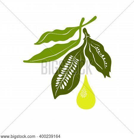 Sesame Oil. Vector Symbol. Healthy Seed, Organic Food, Natural Organic Drop Of Butter, Bio Ingredien
