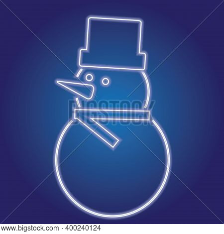 Neon Snowman On The Background. Outline Of The Snowman. Vector Illustration Of A Snowman