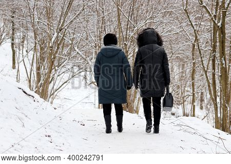 Two Women Walking In Winter Park, Rear View. Snow Covered Trees, Cold Weather