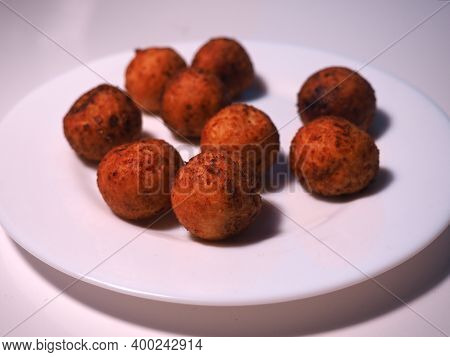 Balls From The Cottage Cheese. Cottage Cheese Donuts. Tasty Homemade Cottage Cheese Donuts