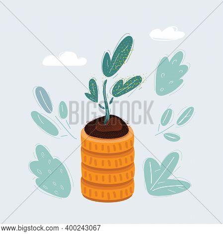 Vector Illustration Of Plant On Stark Of Coins On Dark Backround.