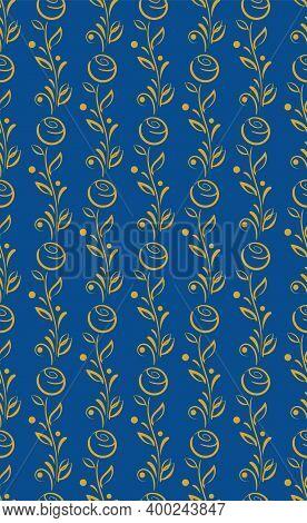 Ornamental Floral Seamless Pattern. Hand Drawn Graphic Design, Nature Folklore Flourish, Leaves, Ber