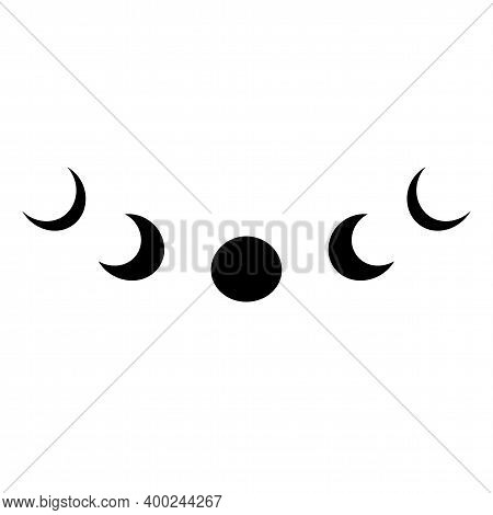 Black Moon Phase Logo. Simple Moon Symbol Isolated Icon. Lunar Phases Graphic Element Moon Cycle Vec