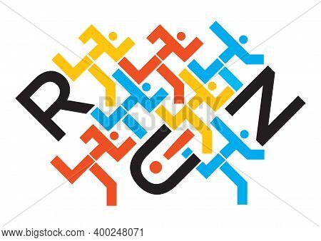 Joggers, Running Race, Word Run. Illustration Of Runners Symbol With Run Lettering. Vector Available