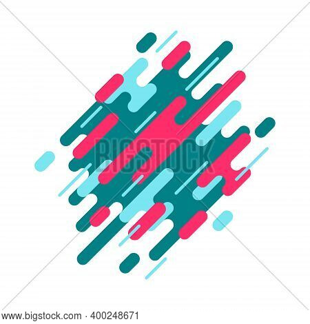 Abstract Geometric Background With Various Rounded Linear Stripes. Modern Dynamic Composition In Dia
