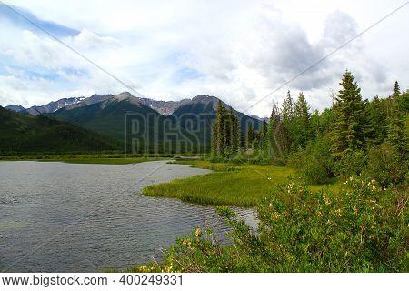 Typical Canada: Vermillion Lake In The Canadian Rockies Near Banff In Alberta, Canada