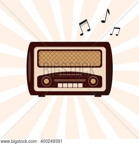 Retro Radio. Vintage Radio And Flying Musical Notes. Vector Illustration.