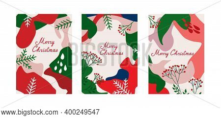 Christmas Holiday Winter Background Design Set. Noel Pattern Decor Abstract Collection. Xmas Backgro