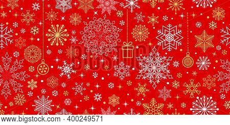 Christmas Seamless Pattern With Snow Winter Motifs. Snowflakes And Circles Ornaments. Holiday Icons