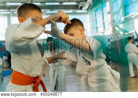 05.12.2020 Russia Novomoskovsk Fok Shachter Kids Training On Karate-do. Banner With Space For Text.