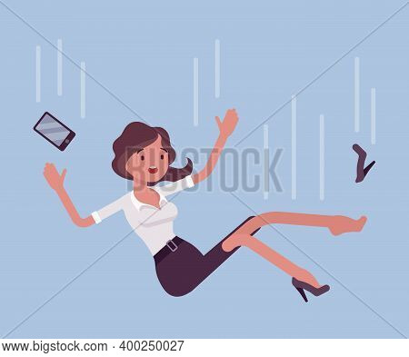 Falling Down Unsuccessful Businesswoman, Moving To Fail. Life Lower Place Or Position, Dismissal, Re