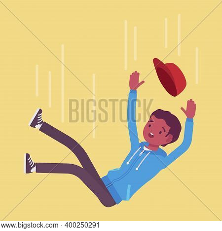 Falling Down Unsuccessful Young Black Man, Making Mistake, Failure. Guy In Unfortunate Incident, Not