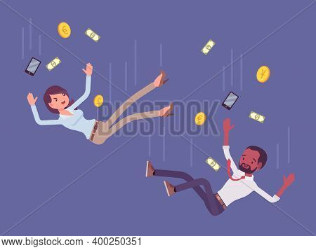 Falling Down Unsuccessful Business People, Around Paper Money, Golden Coins. Man, Woman Moving To Fi