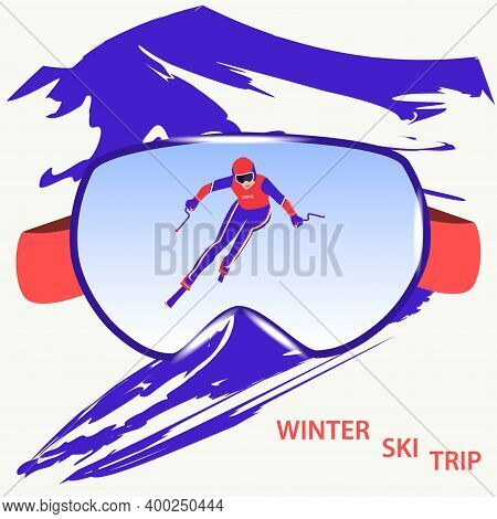 Winter Sport. Skier Goggles, Athlete Descends From The Mountain - Abstract Background In Grunge Styl