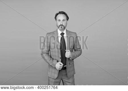 Keep Professional Look Up. Professional Man Grey Background. Mature Employee Wear Formal Suit. Profe