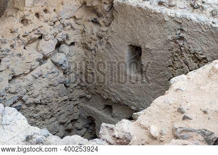 Santorini, Greece - September 18, 2020: Recovered Ancient Buildings In Prehistoric Town Of Akrotiri,