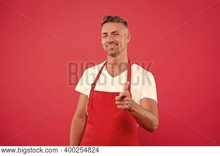 Happy Entrepreneur Of Coffee Shop. Male Barista Wear Uniform. Unshaven Man Work As Barista. Part-tim