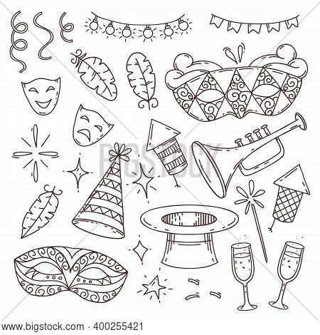 Carnival Elements Collection In Doodle Style On White Background