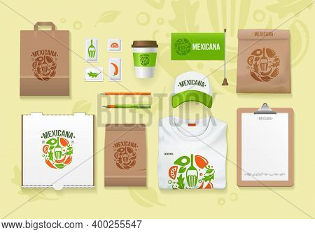 Vector Food Identity Template Design Set. Branding Mockups. Packages Mock-up Pack For Your Company.