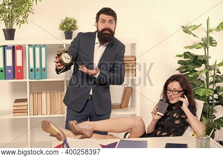 Deadline Is Coming. Businessman Point At Clock. Sexy Secretary Drink Coffee Talking On Phone. Work D
