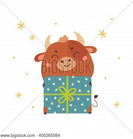 Cute Cartoon Ox With Christmas Gift. Design For Greeting Cards, Stickers, Banners, Prints. Xmas Card