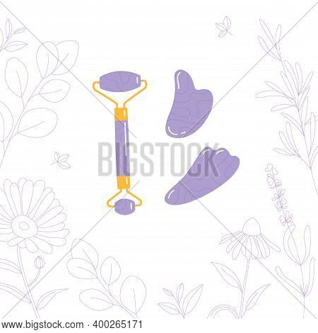 Skin Care Products For Spa. Vector Set Of Massage Roller, Gua Sha Stone Isolated On White Background