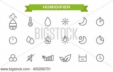Icons Set On The Theme Of The Humidifier. Linear Style. Humidifier, Air Humidity, Timer, Temperature