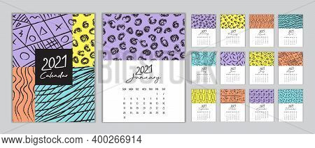 Calendar 2021 Template Vector, Set Desk Calendar 2021, Wall Calendar 2021 Design, Planner, Week Star
